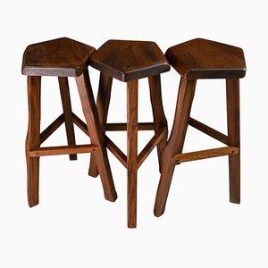 Wooden Stools by Olavi Hänninen, Finland, 1960s, Set of 3