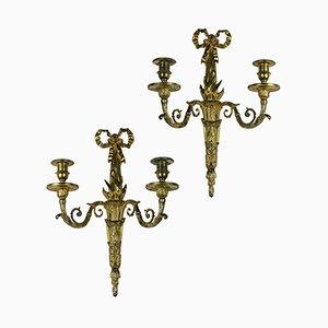 Französische Vergoldete Bronze Wandlampen mit 2 Leuchten, 1860er, 2er Set
