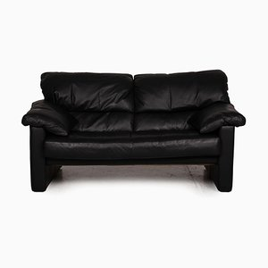 Black Leather Sofa from WK Wohnen