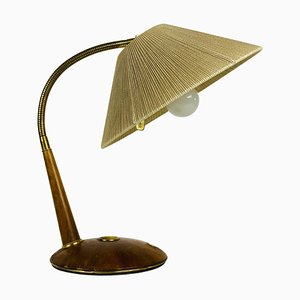 Teak and Rattan Table Lamp from Temde, 1970s