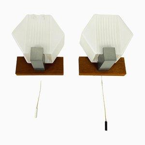Weiße Wandlampen aus Opalglas & Teak, 1970er, 2er Set