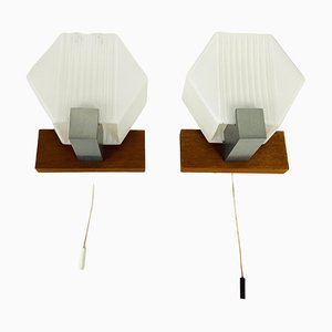 White Opal Glass and Teak Wall Lamps, 1970s, Germany, Set of 2
