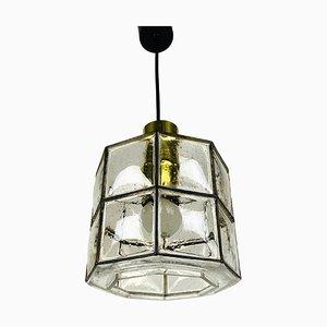 Iron and Bubble Glass Pendant Lamp from Glashütte Limburg, 1960s