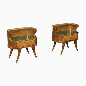 Bedside Tables with Burl Walnut Veneer, Italy, 1950s, Set of 2
