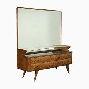 Burl Walnut Veneer and Brass Back-Treated Glass Dresser, Italy, 1950s