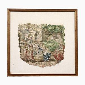 Stickerei-Fragment auf Stoff aus dem 18. Jahrhundert