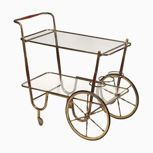 Wood, Brass and Glass Service Trolley, Italy, 1950s
