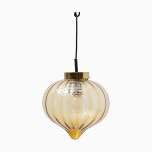 Amber Glass Pendant Light from Raak, 1970s