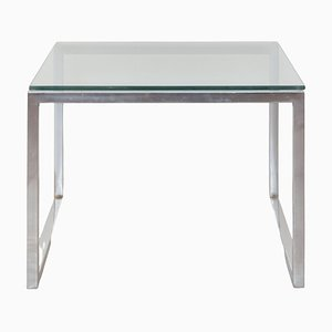 Square Glass and Chrome Coffee Table, 1960s, Italy