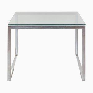 Tavolino da caffè quadrato in vetro e metallo cromato, anni '60