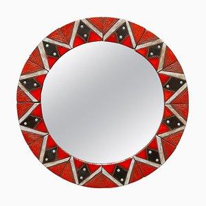 Specchio rotondo in ceramica smaltata con piastrelle a mosaico di Oswald Tieberghien, Belgio