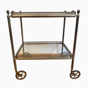 Neoclassical Brass Bar Cart with Removable Tray.