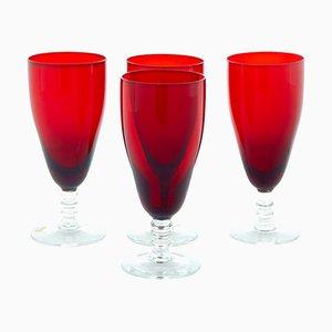 Scandinavian Red Wine Glasses by Monica Bratt, 1950s, Set of 4