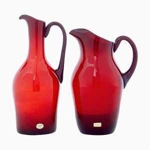 Rote Mid-Century Kannen aus Kunstglas von Monica Bratt, 1950er, 2er Set