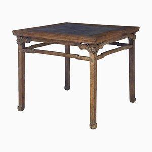 Large 19th-Century Oriental Hardwood Marble Inset Table