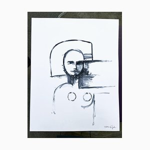 André Ferrand, retrato 1, 2010, tinta china sobre papel