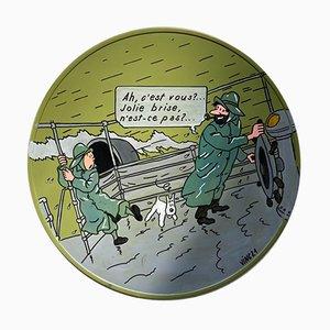 Vinc, Road Sign, Tintin et le Capitaine Haddock dans la tourmente, 2021, Acrylic on Metal