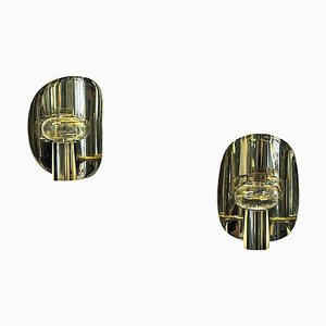 Norwegian Vintage Brass Wall Candleholders by Odel Messing, 1960s, Set of 2