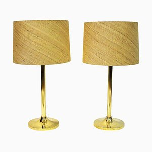 Swedish Brass Table Lamp from M.A.E in Eskilstuna, 1970s, Set of 2