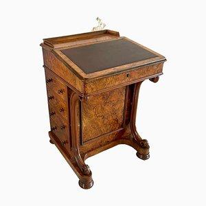 Antiker viktorianischer Davenport Schreibtisch aus Nusswurzelholz, 19. Jh