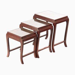 Antique Carved Hardwood Nesting Tables, Set of 3