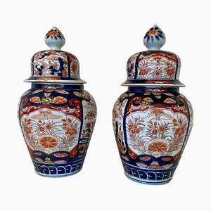 Antique Imari Lidded Vases, Set of 2
