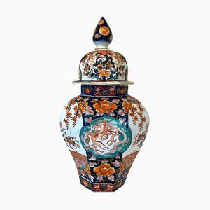 Große antike Imari Vase mit Deckel