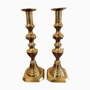 Grands Bougeoirs Victoriens Antiques en Laiton, Set de 2