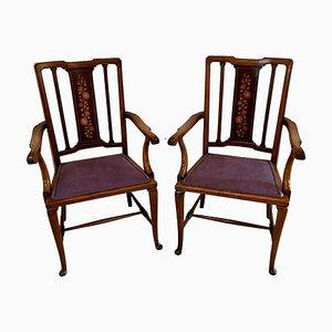 Antike edwardianische Schreibtischstühle aus Mahagoni mit Intarsien, 2er Set