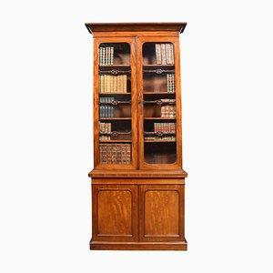 Mahogany Two-Door Narrow Bookcase