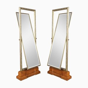 Large Tooled Bronze Framed Two-Sided Cheval Mirrors from Versace, Set of 2