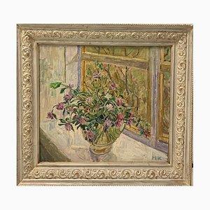 Maya Kopitzeva, Blumen auf der Fensterbank, 1995, Öl auf Leinwand