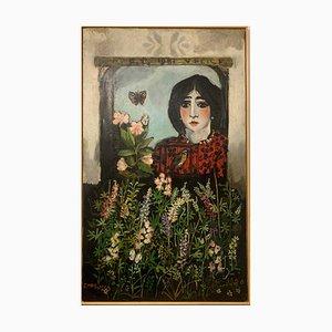 Francesco Tabusso, Girl at the Window, 1981, Acryl auf Leinwand, Gerahmt