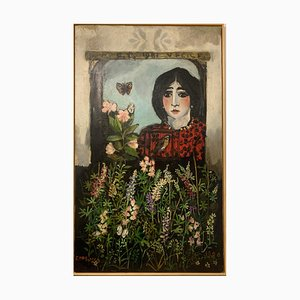 Francesco Tabusso, Girl at the Window, 1981, Acrylic on Canvas, Framed