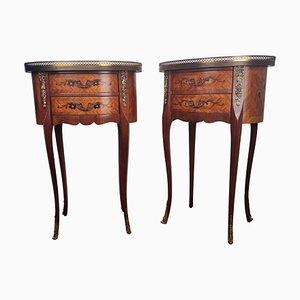 Tables de Chevet Antiques en Marqueterie de Noyer avec Tiroirs, Italie, Set de 2