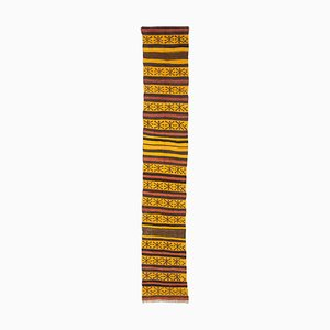 Geometric Kilim Runner Carpet in Yellow with Stripes