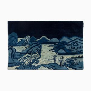 Chinese Carpet in Dark Blue with Motif