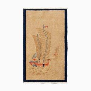 Chinesischer Teppich in Beige mit Motiv und Rand
