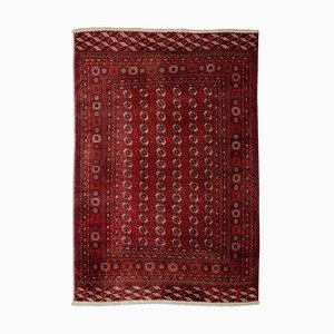 Geometric Carpet in Wine Red with Border and Rhombuses