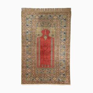 Floral Carpet in Dark Red Pure Silk