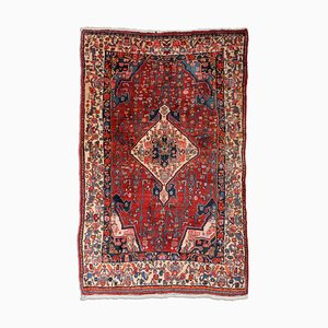 Floral Carpet in Dark Red with Border and Medallion