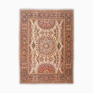 Floral Carpet in Beige with Border and Medallion