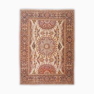 Floraler Teppich in Beige mit Rand und Medaillon