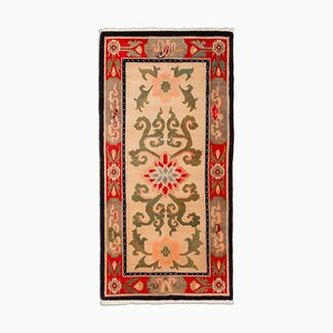 Floral Runner Carpet in Beige with Border and Medallion