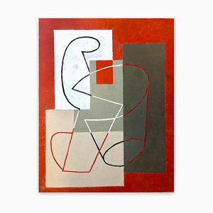 Jeremy Annear, Breaking Contour (Red Square) II, 2018, Oil on Canvas