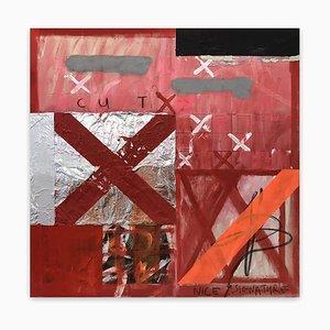 Tim Fawcett, Cut, 2020, acrilico, lamina, tessuto, olio e vernice spray su tela