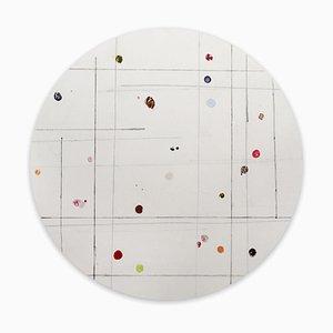 Harald Kroner, Tondo 9, 2020, Tinte, Emaille auf Papier auf Leinen