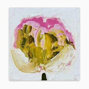 Anya Spielman, olio su pannello verde, oro, rosa, 2021