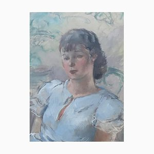 Henri Fehr, Portrait de jeune fille, 1935, Pastel, Enmarcado