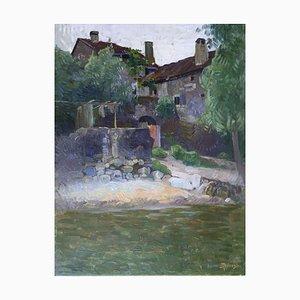 Albert Silvestre, Ferme au bord de la rivière, 1930, Huile sur Toile